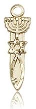 MENORAH / STAR / FISH MEDAL- 14KT Gold Medal Pendant - 0062 - $78.99