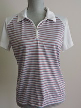 Nike Golf Shirt Fit Dry Polo Red White Blue Stripe M 8-10 Short Sleeve 1... - $21.27