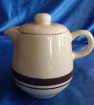Vintage Creamer MCCOY POTTERY 7020 TAN & BROWN STRIPE With Lid 1 - $18.90