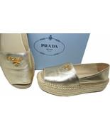 Prada Gold Leather Peep Toe Flat Wedge Espadrilles Slides Mules Shoes 37.5 - $359.00