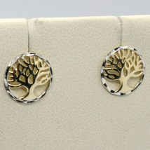 18K YELLOW & WHITE GOLD ROUND EARRINGS BEAUTIFUL TREE OF LIFE, MADE IN ITALY image 1