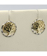 18K YELLOW & WHITE GOLD ROUND EARRINGS BEAUTIFUL TREE OF LIFE, MADE IN I... - $161.00