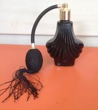 BEAUTIFUL ART GLASS BLACK SHELL DESIGN PERFUME BOTTLE ATOMIZER - $8.90