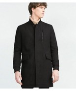 NWT ZARA Man XXL 2XL longer wool coat jacket overcoat heavyweight warm b... - $135.79