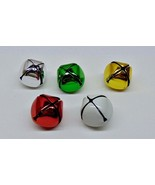 "Lot of 10 Metal JINGLE BELLS 29mm 1.14"" ~ Red Green Gold White Silver Cr... - $3.59"