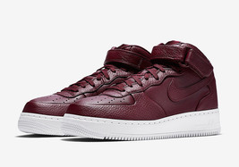 Nikelab Air Force 1 Mid MAROON/WHITE Men Size 10.5 New 819677 661 - $140.24