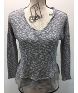 Jessica Simpson Cable Knit Sweater Women Sm Gray Lace Floral Accent Long... - $17.00