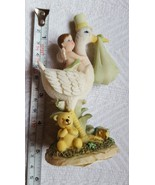 Polystone Baby on Swan, Cake Topper, Baby Shower, Baby Boy with angel wi... - $13.06