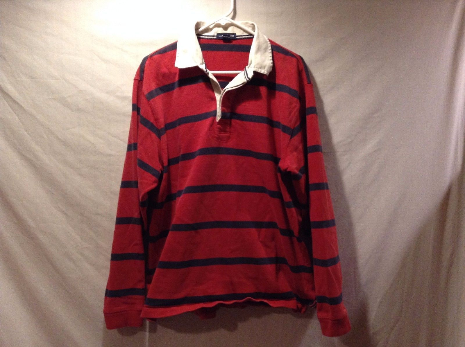 Lands End Heavy Weight Long Sleeve Red w Blue Stripe Collared POLO Sz LG 42-44