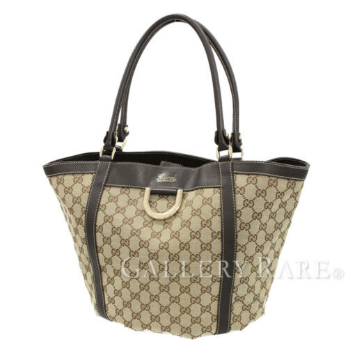 GUCCI GG Canvas Tote Bag Leather Brown 211982 Shoulder Bag Authentic 5348220