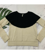 Si Iae Anthropologie Cashmere Sweater Size S Black Cream Open Knit Pullover - $38.60