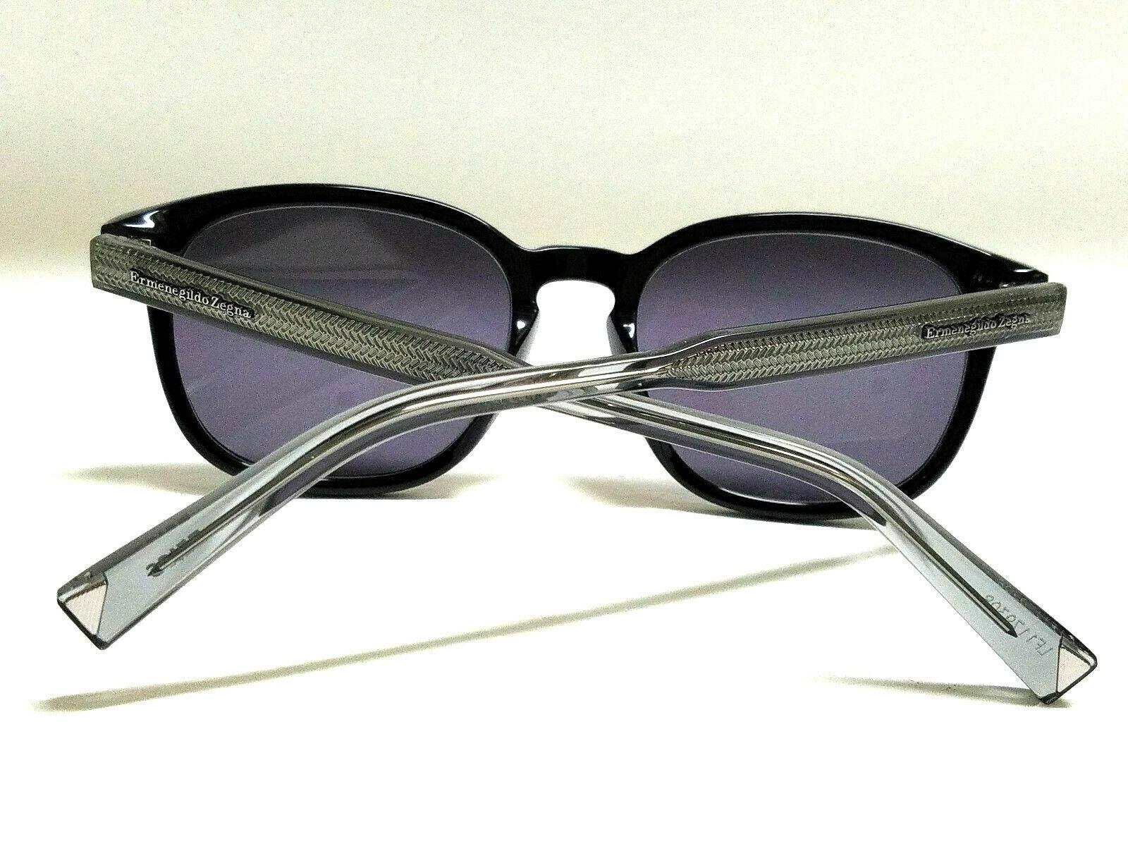 New Authentic ERMENEGILDO ZEGNA EZ0005S 05A Black/Smoke Lens 52mm Sunglasses