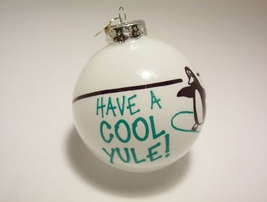 Bonners Ornament Penguin Skateboard Have a Cool Yule Germany Glass Bulb - $4.99