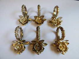 VTG PRINCESS HOUSE SILVER PLATED METAL ROSE FLOWER NAPKIN RING HOLDER SE... - $35.64