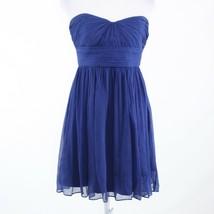 Navy blue sheer overlay 100% silk J. CREW strapless empire waist dress 8P - $44.99