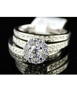 14k White Gold Over 925 Sterling Silver Womens 3pcs Wedding Engagement R... - $132.33