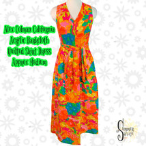 Alex Colman Flower Power Groovy Hostess Dress Psychedelic Quilted Skirt S/M - $78.71