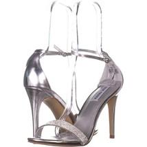 Steve Madden Stecy Ankle Strap Dress Sandals 319, Silver, 9.5 US - $28.79
