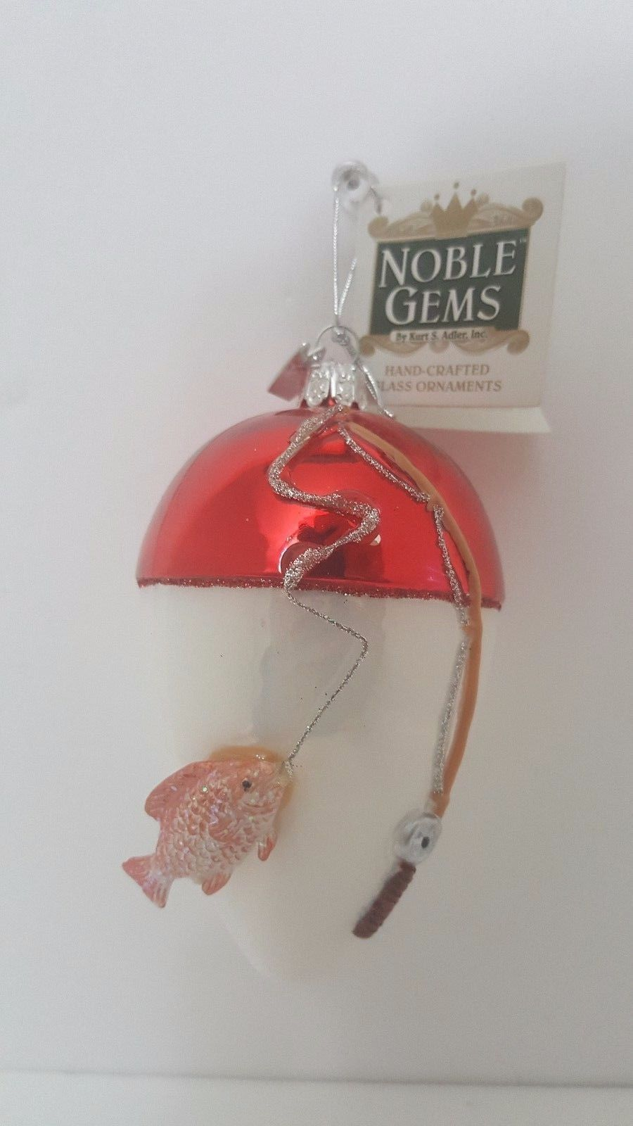 Kurt Adler Noble Gem Fly Fishing Hand Crafted Glass Ornaments New Without Box