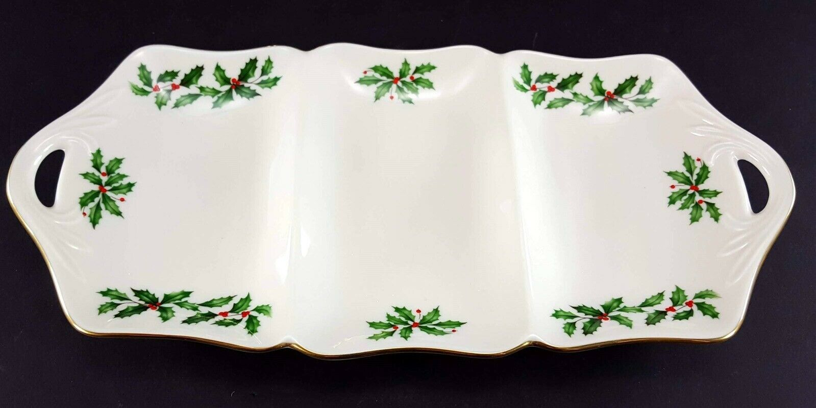 """LENOX China Holiday Dimension 3 Part Utility Serving Tray 13-3/8"""" Dinnerware image 2"""