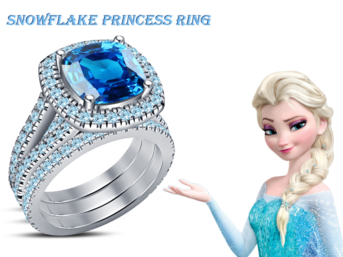 Primary image for Brilliant Princess Wedding Trio Ring Set 925 Silver Blue Topaz & Free Shiping