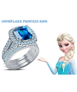 Brilliant Princess Wedding Trio Ring Set 925 Silver Blue Topaz & Free Sh... - $138.20