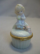 Precious Moments Figurine Trinket Hair Pill Tooth Box Girl On Rainbow PM... - $7.95