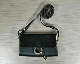 Chloe Faye Mini Suede & Leather Wallet Bag Black - $411.59