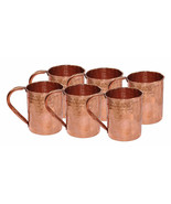 SET OF 6 COPPER MOSCOW MULE MUGS HAMMERED TEA BEER COFFEE JUICE MUG - $40.57