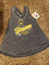 V73 NWT Genuine Merchandise Milwaukee Brewers Distressed Print Tank Girl... - $5.00