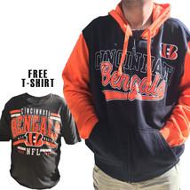 NFL Cincinnati Bengals Mens Full Zip Hoodie Sweatshirt & FREE T-SHIRT Ne... - $44.92