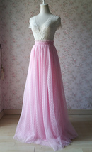 TAFFY PINK Full Tulle Skirt Bridesmaid Tulle Prom Skirt Dot High Waist US0-US28 image 2