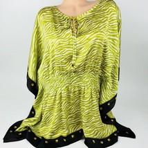 Michael Kors Womens Top Blouse Size 2XL Plus Green Caftan Keyhole Animal A15  - $64.34