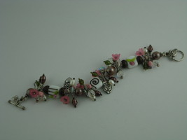 "HANDCRAFTED ARTISAN BRACELET LAMPWORK BEADS CRYSTALS PEARLS...SIZE 8.25""  - $49.49"