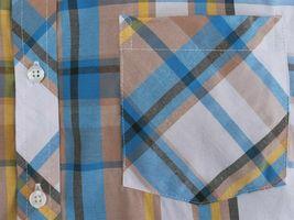 Men's Plaid Checkered Button Down Short Sleeve Regular Fit Dress Shirt - M image 4