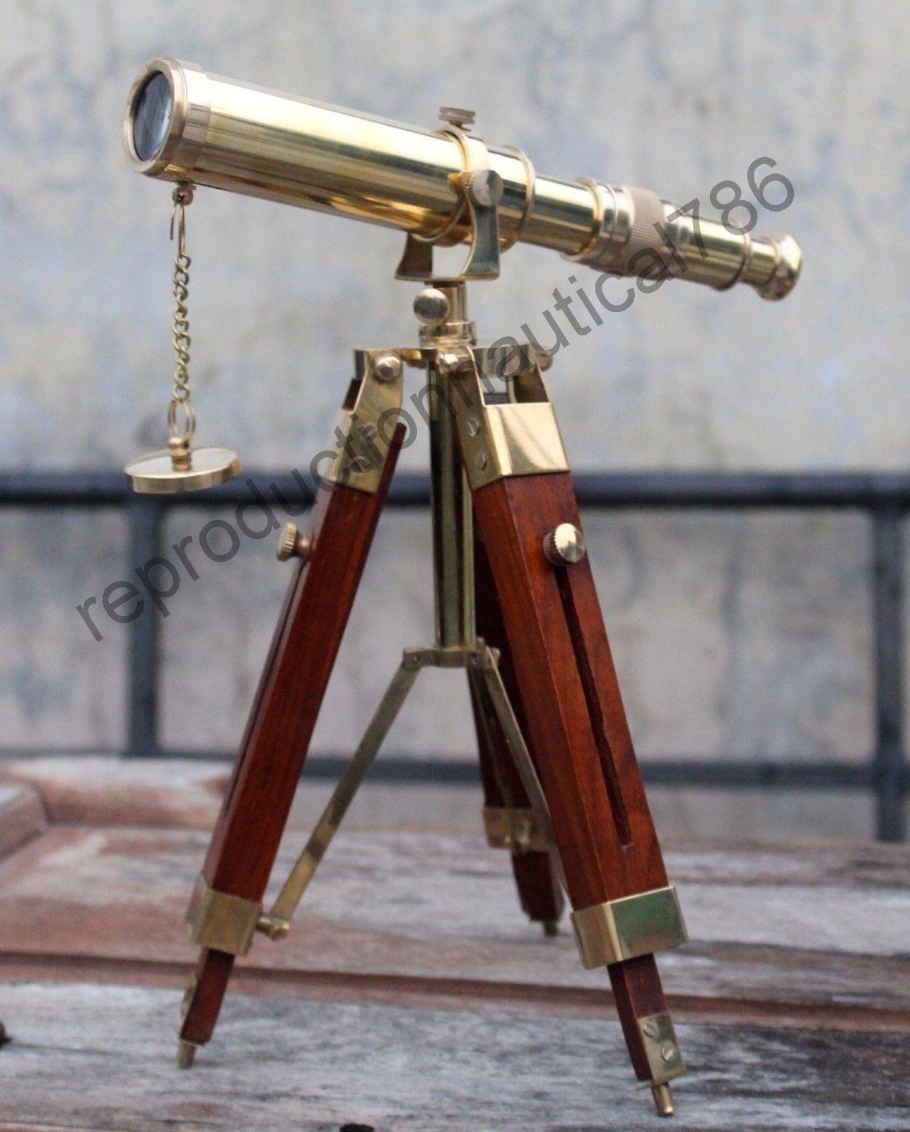 "Brass Ship Telescope Leather Bounded 15/"" Pocket Telescope with Hard Wood Case"