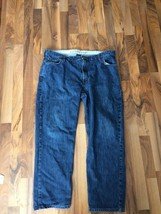 Mens Lands End Traditional Fit Blue Jeans Size 42 by 29 1/2  Cotton Flat... - $23.12