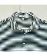 Peter Millar Men's Golf Polo Green White Striped Medium - $32.64