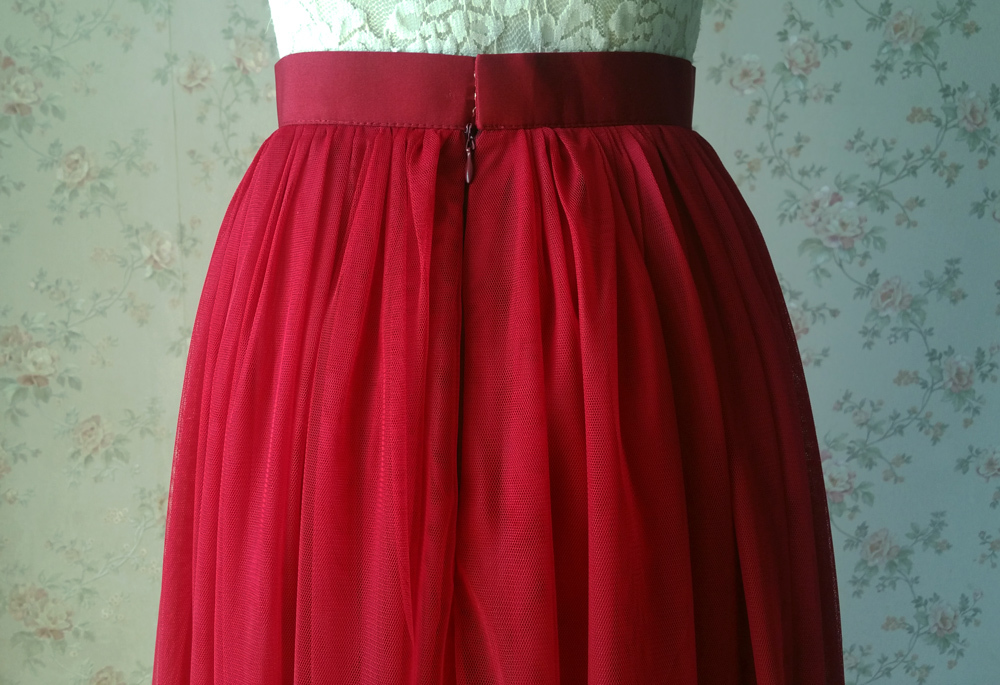Women Dark RED Tulle Maxi Skirt Dark Red Wedding Bridesmaid Tull Skirt Plus Size