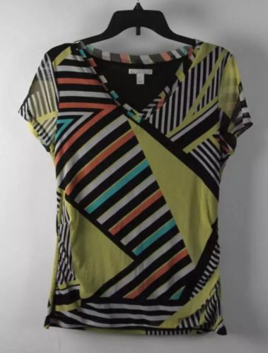 Dana Buchman Striped Print Short Sleeve V-Neck Top L
