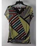 Dana Buchman Striped Print Short Sleeve V-Neck Top L - $24.99