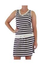 Euro Design Ladies Casual Cotton Summer Beach Coverup Sun Dress Navy Large - $25.77