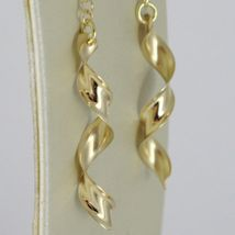 SOLID 18K YELLOW GOLD LONG PENDANT EARRINGS WITH WORKED SPIRAL & ROLO CHAIN image 3