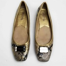 Michael Kors Gold/Gray Classic Low Heel Snakeskin Leather Flats WOMEN SI... - $33.25