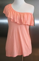 MOSSIMO Top Ruffled Collar One Shoulder Peach XS EUC Women's Blouse Loose - $9.89
