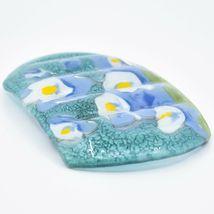 Fused Art Glass Blue Columbine Flower Floral Design Soap Dish Handmade Ecuador image 4