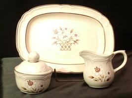 Cumberland Stoneware Mayblossom Pattern Cream Sugar w/ Lid & Serving Tray AA-192