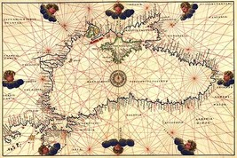 Portolan or Navigational Map of the Black Sea showing anthropomorphic winds by B - $19.99+