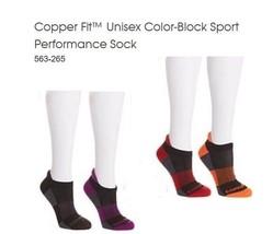 Copper Fit™ 4 Pair Unisex Color-Block Sport Performance Sock L/XL - $14.84