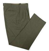 Berle Tailored Dress Pants USA Made Pleated Khaki Unfinished Hem Mens 34... - $31.44
